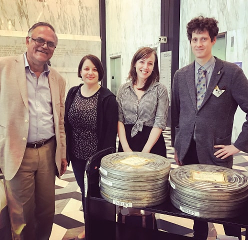 At New York University, mid-2017, with the retrieved cans: (Left to right) the writer, archivists Marie Lascu, Bonnie Sauer, Ben Moskowitz - Photos courtesy the writer