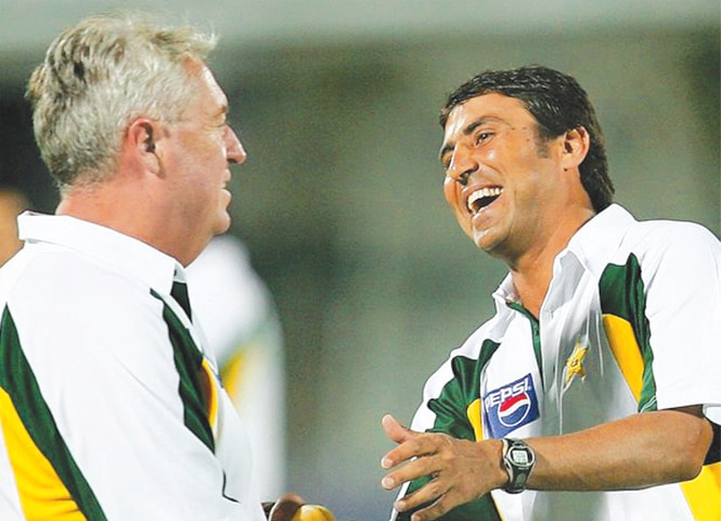 Younis Khan with Bob Woolmer