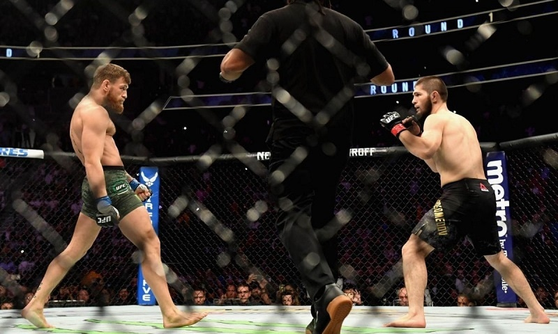 Khabib and McGregor get ready to engage in their UFC fight. — AFP