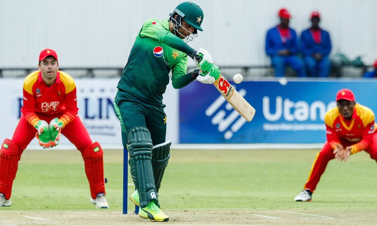Fakhar Zaman in action against Zimbabwe. — AFP