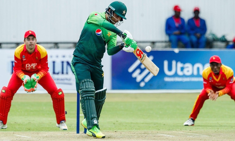 Fakhar Zaman in action against Zimbabwe. — AFP