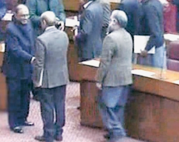 THIS TV grab shows a smiling Asif Ali Zardari shaking hands with Leader of the Opposition Shahbaz Sharif in the National Assembly on Monday.