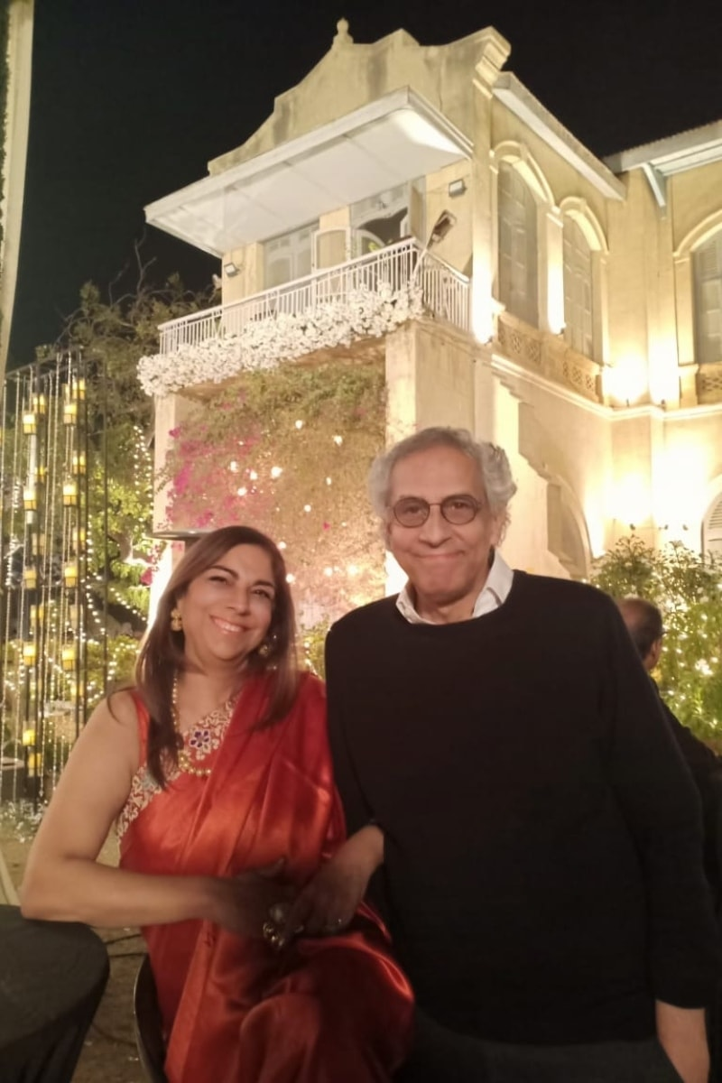 Parey Hut Love writer Imran Aslam and PR guru Farishteh Aslam pose against the colonial home where the final scenes of the film were shot