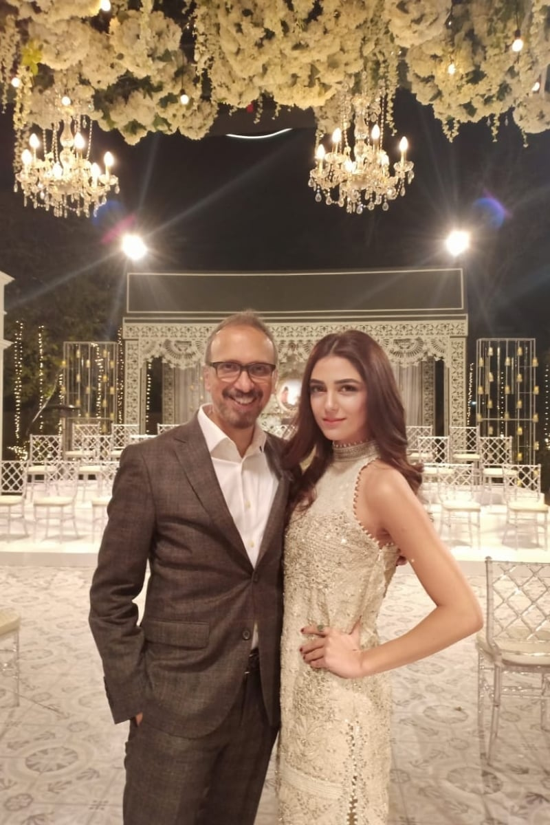Director Asim Raza with lead star Maya Ali