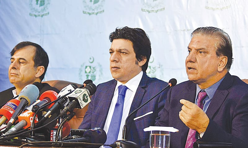 FEDERAL Minister for Water Resources Faisal Vawda and Wapda chairman retired Lt Gen Muzammil Hussain addressing a joint press conference on Wednesday.—APP