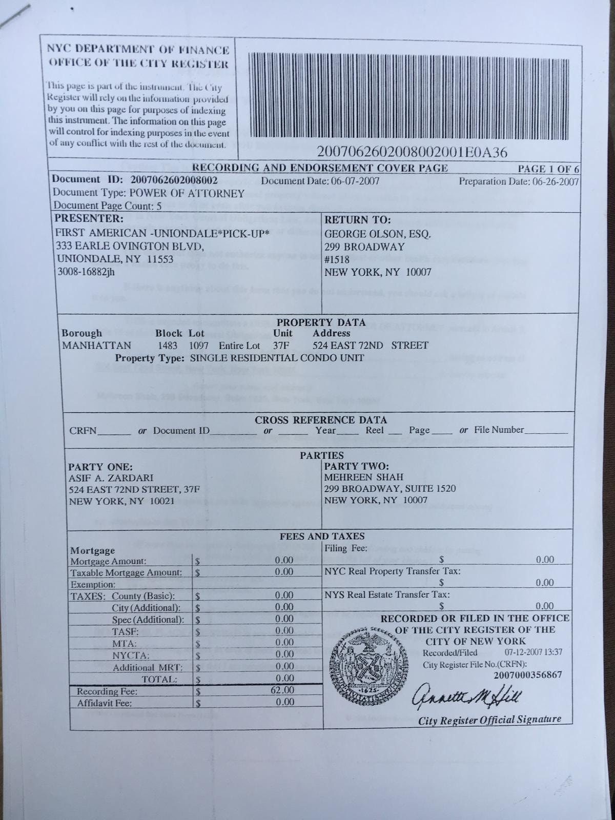 Another document submitted by PTI to show Zardari's ownership of the flat.