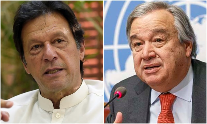 Prime Minister Imran Khan and UN Secretary General Antonio Guterres. — AFP/AP/File