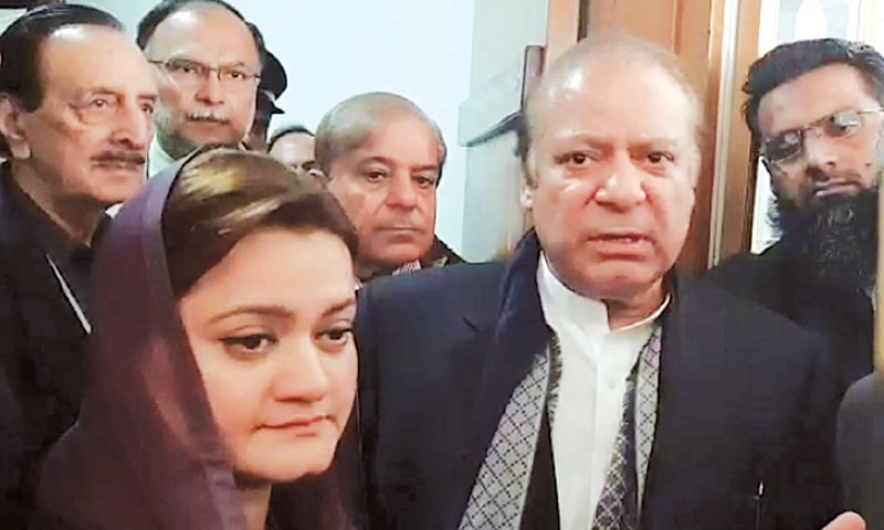 FORMER prime minister Nawaz Sharif talking to media personnel at Parliament House.—Online