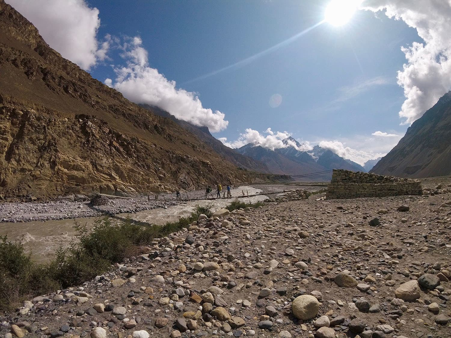 Day 1: Crossing the footbridge over Shimshal River.