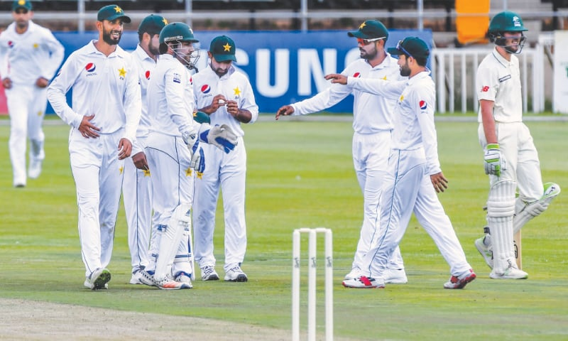 BENONI: Pakistan players celebrate the dismissal of CSA Invitation XI tailender Kyle Simmonds during their tour match at the Willowmoore Park on Friday.—courtesy Cricket South Africa