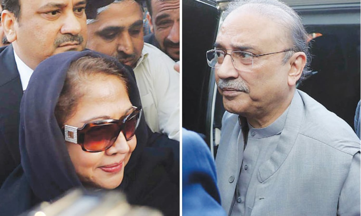 Zardari and his sister Faryal Talpur after appearing before a banking court. — Photo courtesy Online