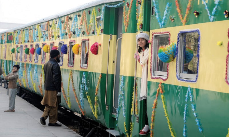 Rehman Baba Express train ready to leave Peshawar Railway Station for Karachi on Sunday. — Photo by Shahbaz Butt