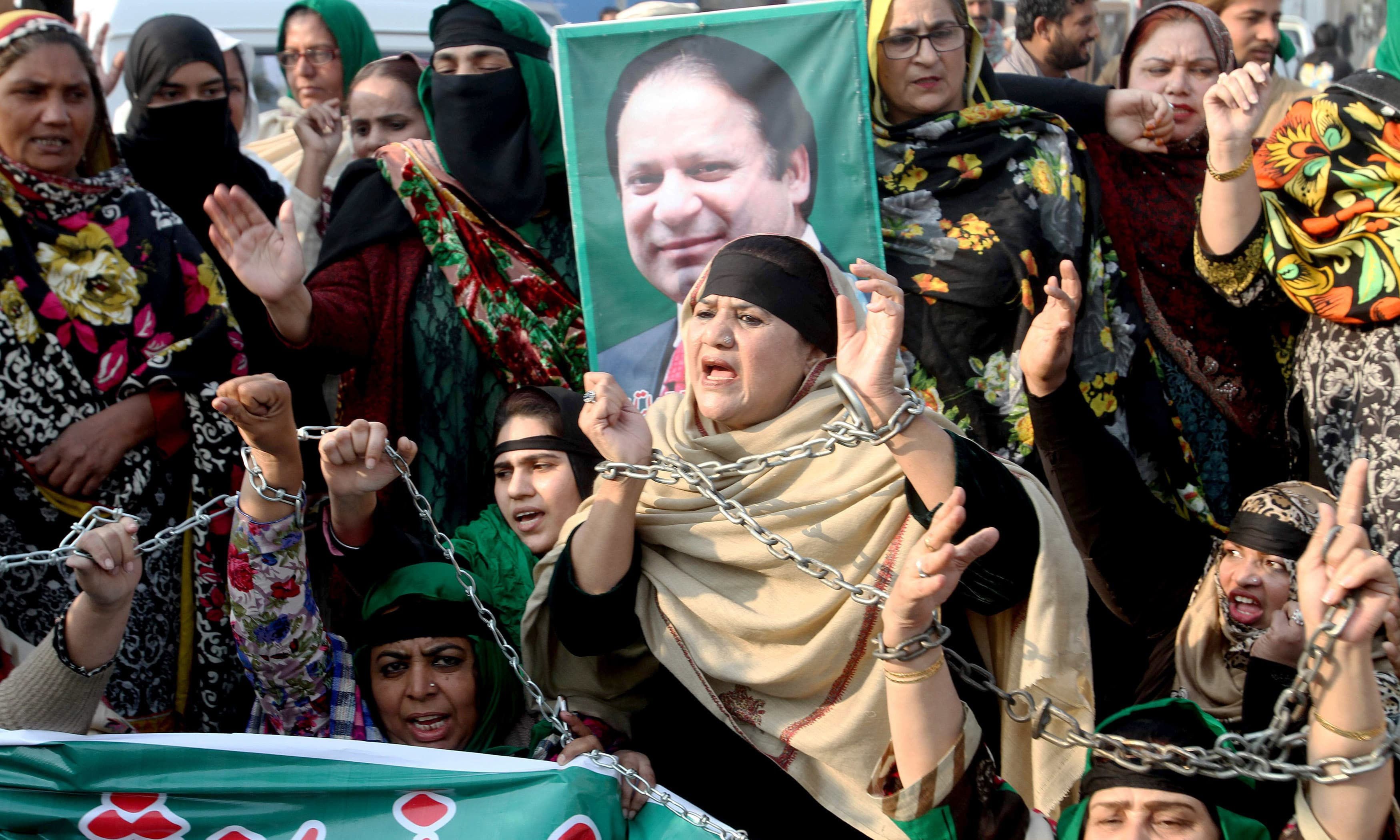An anti-graft tribunal sentenced former prime minister Nawaz Sharif to seven years in prison for corruption, drawing criticism from his party. —AFP