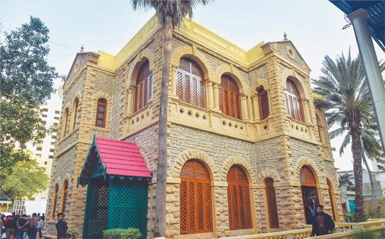 THE newly-restored Karachi Press Club building, which was handed back to the club representatives by the Endowment Fund Trust on Monday.—White Star
