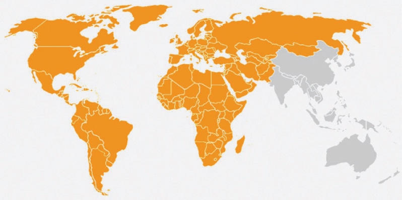 The yellow part in the map shows the countries Torbjorn Pedersen has travelled to in the last five years. The other picture shows the traveller during his journey.