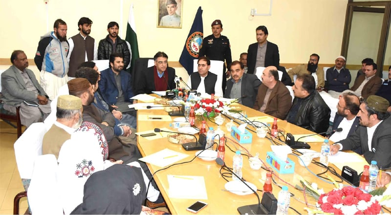 FEDERAL Minister for Finance, Asad Umar addresses a meeting at the Balochistan Chamber of Commerce and Industry on Monday. Speaker National Assembly Qasim Suri was also present.