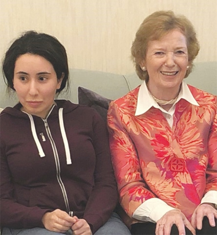 DUBAI: Sheikha Latifa with Mary Robinson, former UN High Commissioner for Human Rights.—AP
