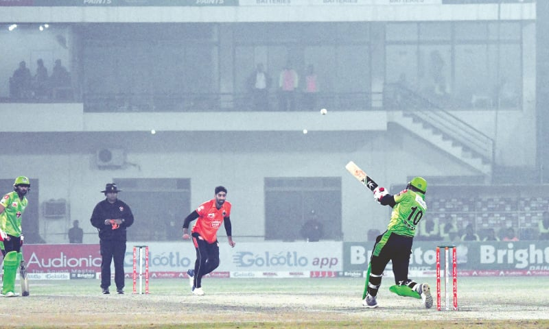 MULTAN: Lahore Whites' hero Saif Badar smashes Rawalpindi paceman Hammad Azam for a six during the National T20 Cup final at the Multan Cricket Stadium on Tuesday.—courtesy PCB