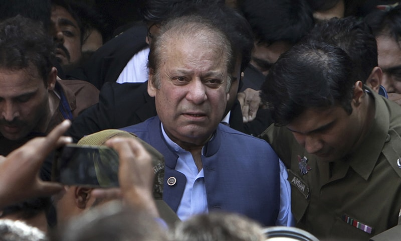 In this file photo, former Pakistan Prime Minister Nawaz Sharif leaves after appearing in a court in Lahore, Pakistan. — AP