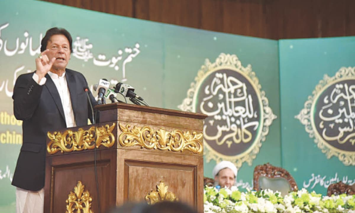 Prime Minister Imran Khan addresses a government-organised religious conference in Islamabad | Tanveer Shahzad, White Star