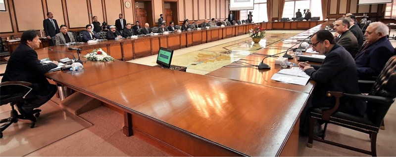 ISLAMABAD: Prime Minister Imran Khan chairs a meeting of the Cabinet Committee on Energy at the PM Office on Wednesday.—INP