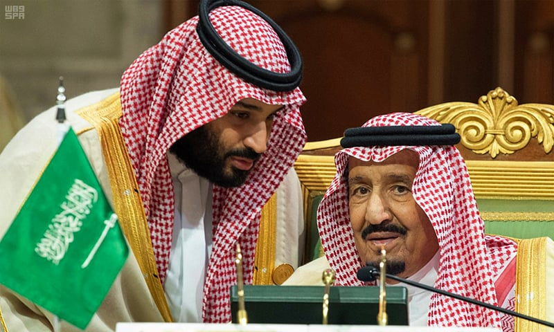 In this Dec 9, 2018 file photo, released by the state-run Saudi Press Agency, Saudi Crown Prince Mohammed bin Salman, left, speaks to his father, King Salman, at a meeting of the Gulf Cooperation Council in Riyadh, Saudi Arabia. —AP