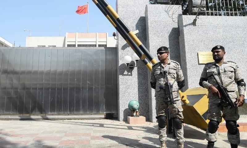 کراچی میں قائم چینی قونصل خانہ — فوٹو : اے ایف پی