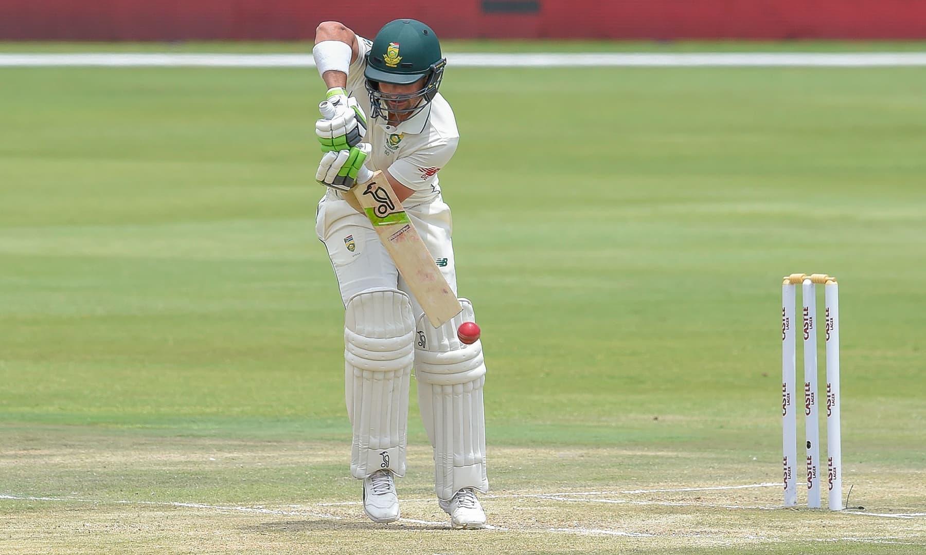 South Africa's Dean Elgar plays a shot. —AFP