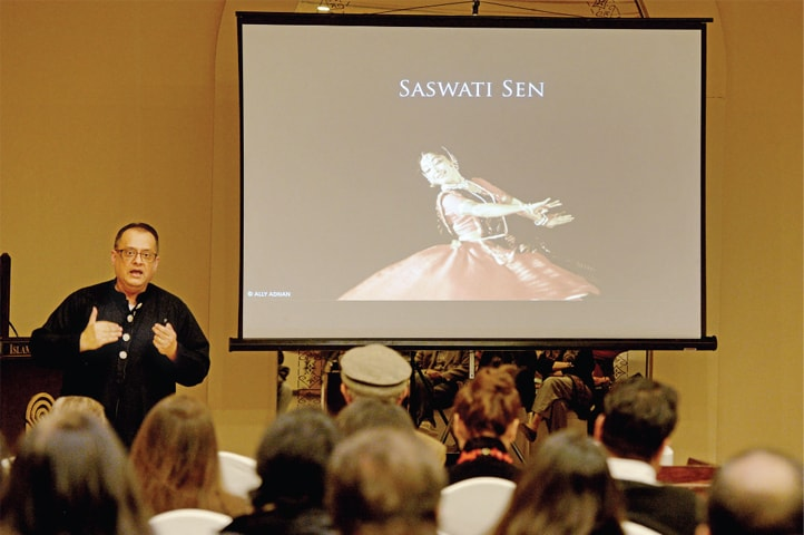 Ally Adnan gives a talk on Kathak dance on Thursday. — White Star