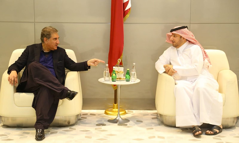 Foreign Minister Shah Mahmood Qureshi met the Qatari prime minister, vice premier and other top officials during a one-day trip to Doha on Sunday. — PTI official Twitter
