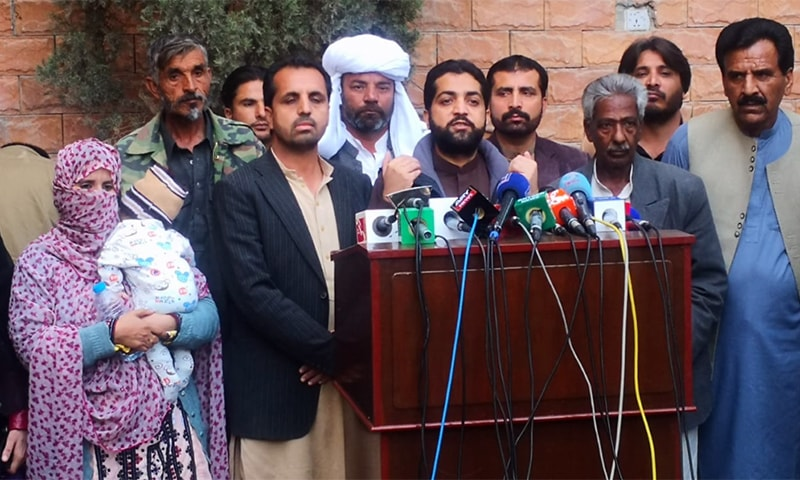Balochistan Home Minister Ziaullah Langove addresses the media after visiting a Baloch missing persons camp in Quetta. — Photo provided by author