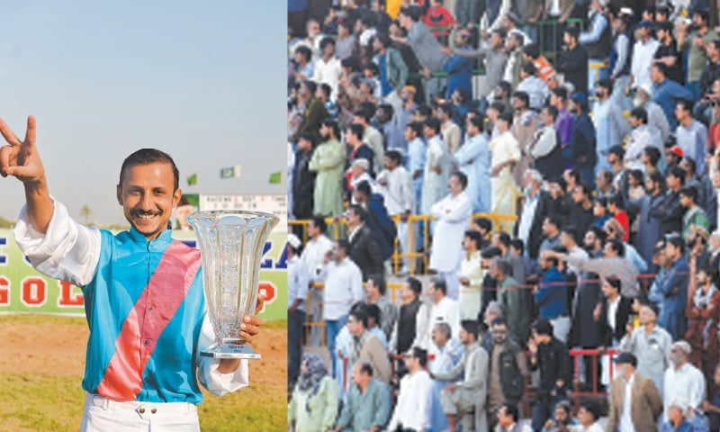 RIDER Aftab Chaudhary holds aloft the Cup.—White Star / A VIEW of the crowd in attendance for the Quaid-i-Azam Gold Cup.—White Star