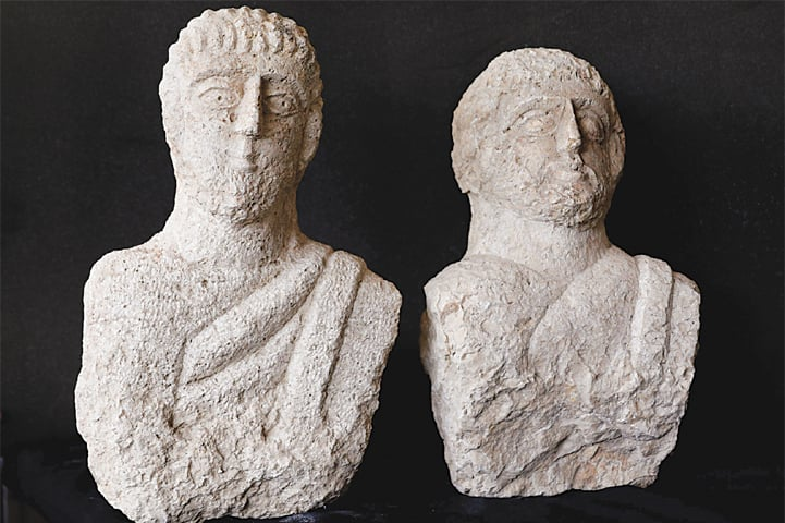 Jerusalem: A picture taken at the lab of Israel's Antiquities Authority shows the limestone busts that archaeologists dated to the late Roman period — some 1,700 years ago.—AFP