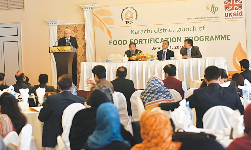 Prof Dr Suleman Shiekh speaks at the Food Fortification Programme Karachi district  launch on Tuesday.—White Star
