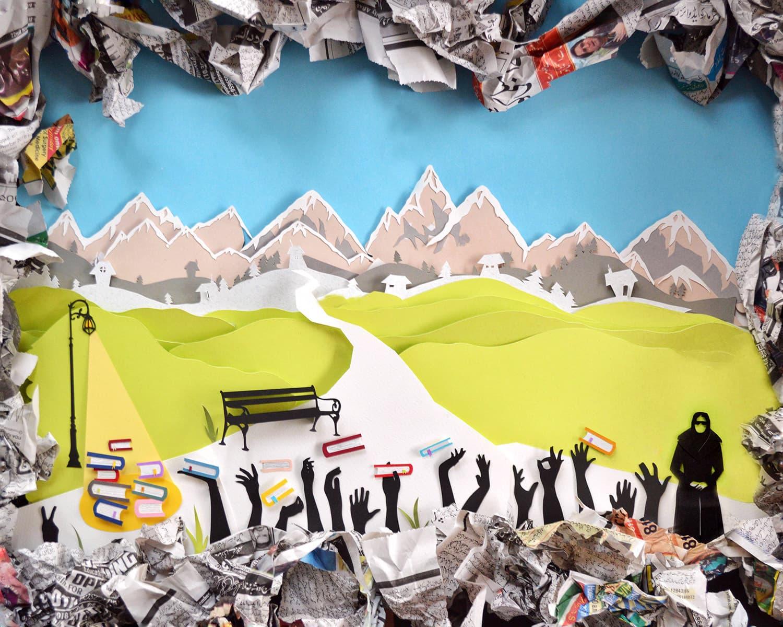 Tuba Nasiem, 'Hanifa Chapu', Layered Paper Cutouts, 18 in x 24 in.