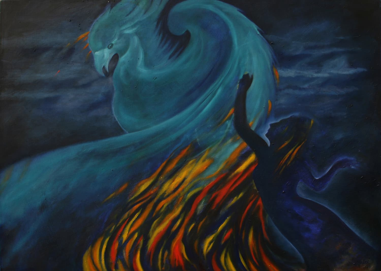 Mahvash Masood, 'Rising from the Ashes', Oil on Canvas, 48 in x 36 in.