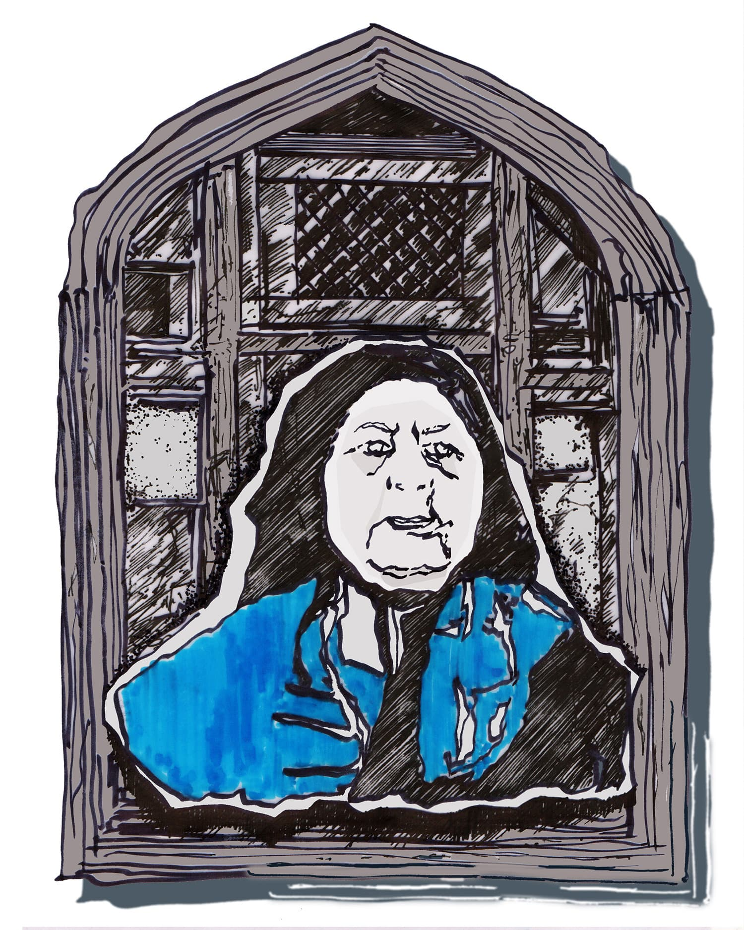 Zoya Khan, 'Ateeqa Bano', Chinese Ink and Alcohol Marker on Paper. Digitised, 8 in x 10 in.