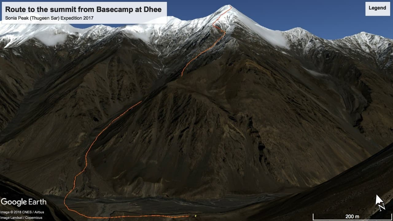 Base camp to summit route.