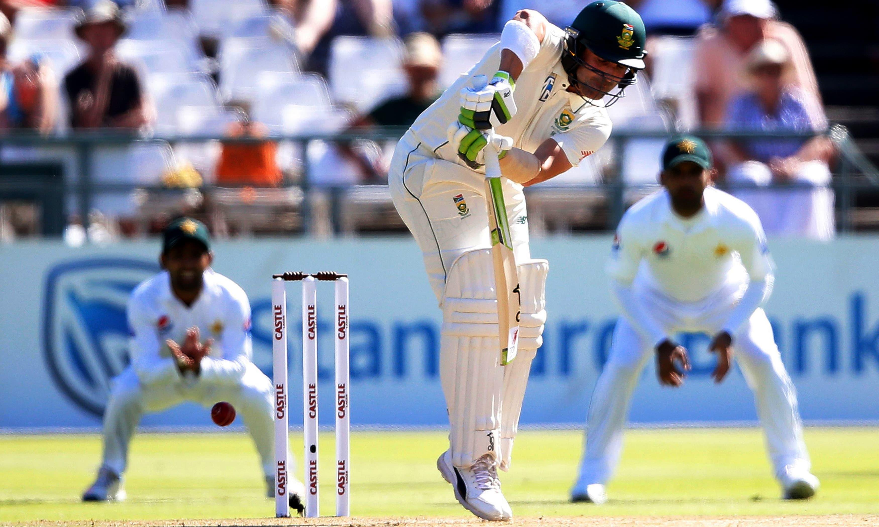 South African batsman Dean Elgar plays a shot. —AFP