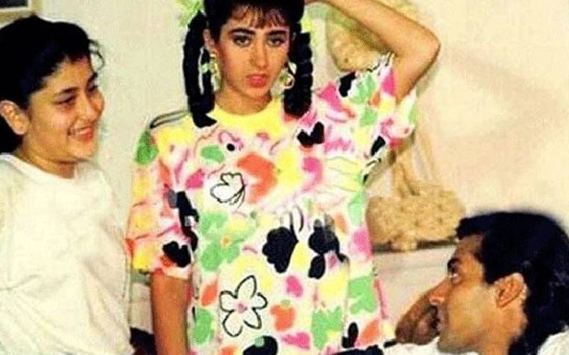 کرینہ کپور 1994 میں سلمان خان سے ملتے ہوئے، بعد میں یہ ان کی ہیروئن بنیں