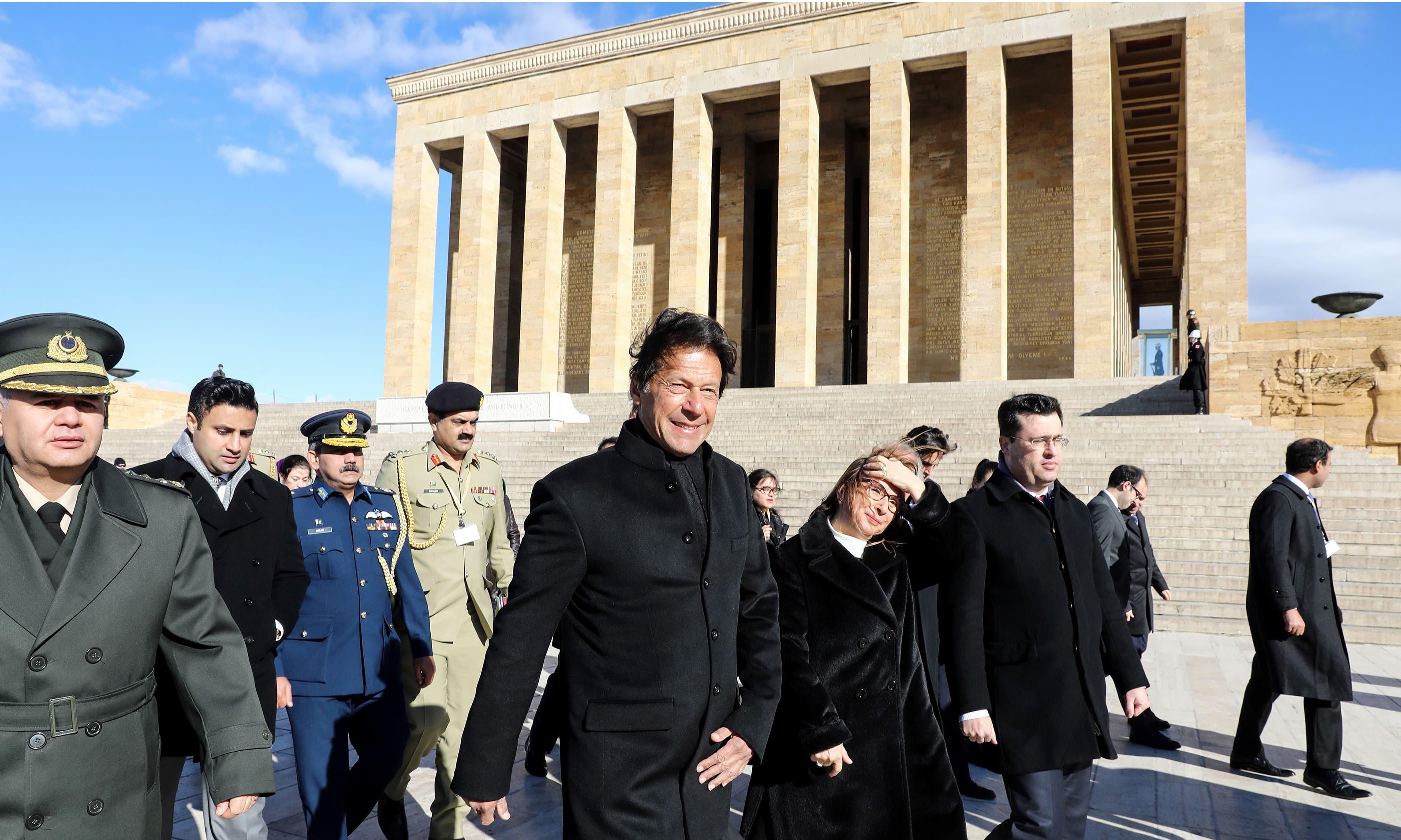 Prime Minister Imran Khan visits Anitkabir, the mausoleum of Turkish Republic's founder Mustafa Kemal Ataturk. —AFP