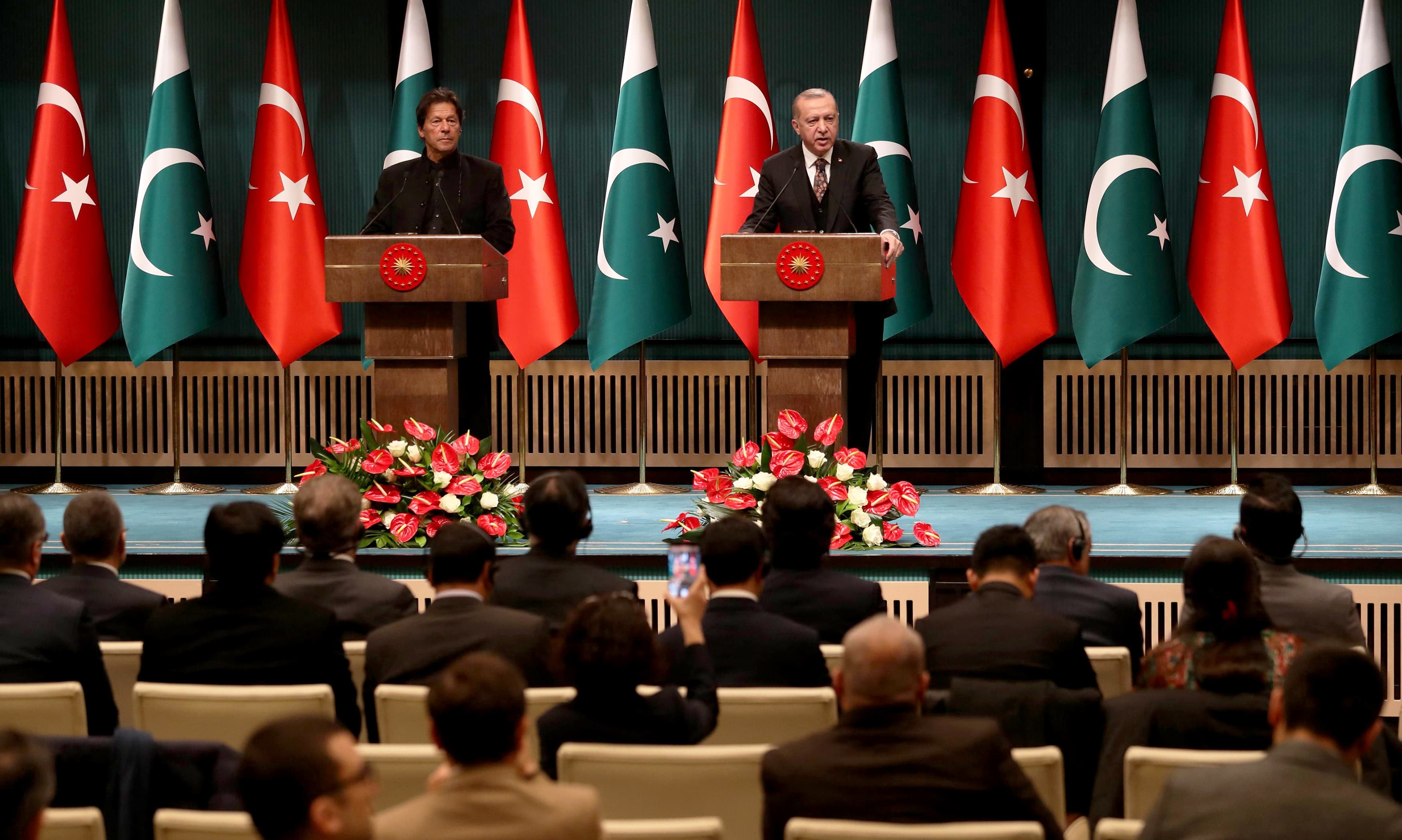 Turkish President Recep Tayyip Erdogan and PM Imran Khan hold a joint press conference at the Presidential Complex in Ankara. —AFP