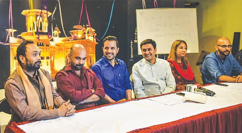 Napa Repertory Theatre director Zain Ahmed unveils the laughter fest programme at a press conference on Friday.—White Star