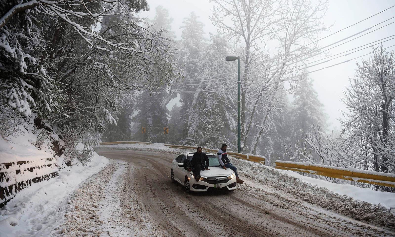 مری میں برف کے گالوں نے پہاڑوں اور درختوں سمیت چار سو چاندی بکھیر دی ہے — فوٹو: اے ایف پی