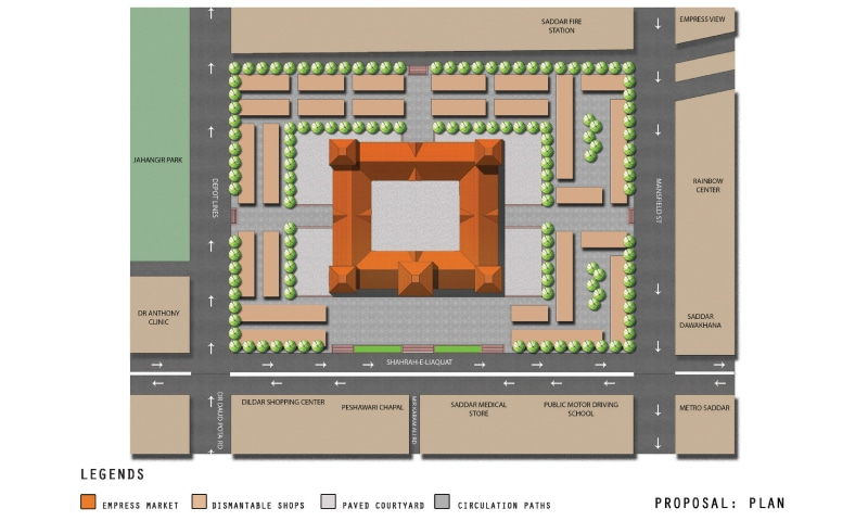 Top view of the proposed plan showing the dismantle-able shops on the Empress Market premises, and the paved courtyard surrounding it to facilitate pedestrian flow