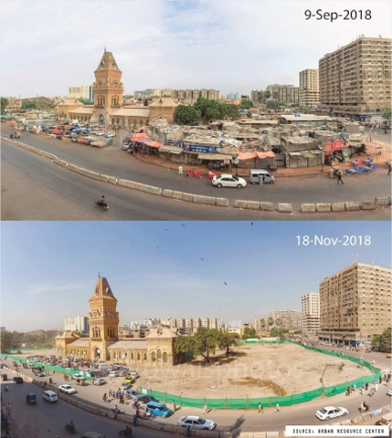 Before and after demolition of 'encroachments'