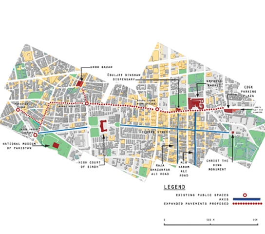 The map shows the proposed walkway linking the hawkers' market to Empress Market and continuing to the Burnes Road food street and Pakistan Chowk