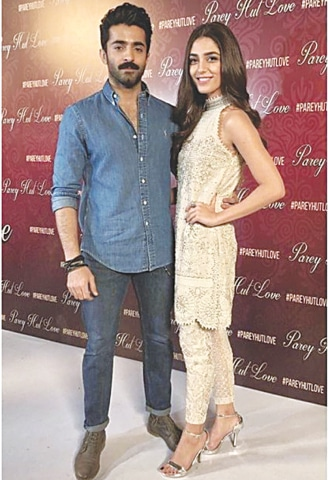 The producer and lead actor of PHL, Sheheryar Munawar with his co-star Maya Ali