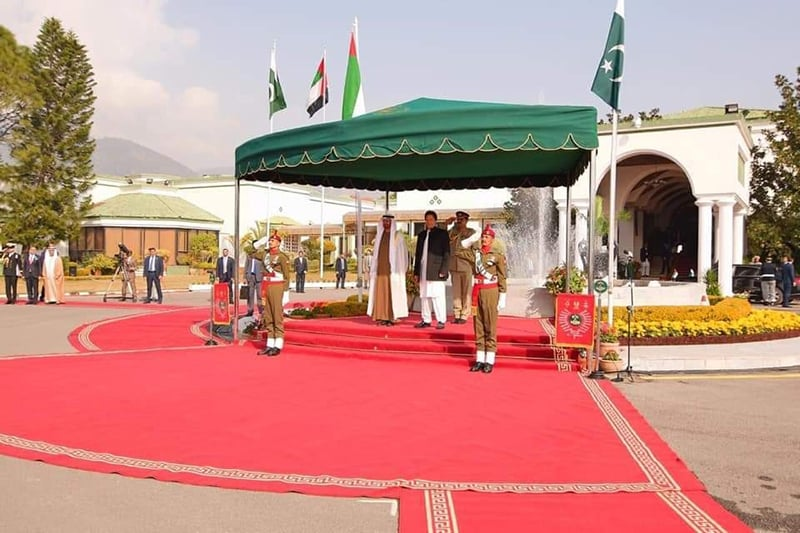 The crown prince attended a welcome ceremony held in his honour at the PM House. — Photo courtesy PTI official Twitter