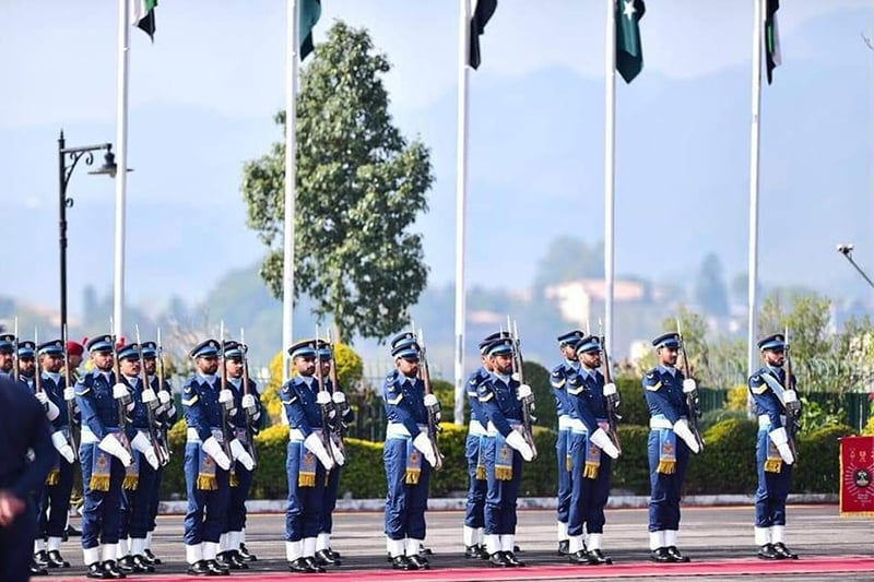 At PM House, a guard of honour was presented by a contingent of the armed forces to the visiting dignitary, who reviewed the parade. — Photo courtesy PTI official Twitter